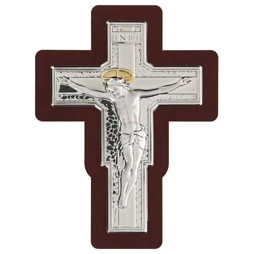 Crocifisso in bassorilievo bilaminato 16x12 cm 1