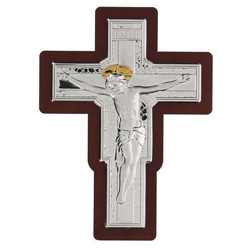 Crocifisso Gesù Cristo in bassorilievo bilaminato 21x16 cm 1