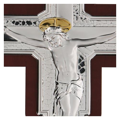 Crocifisso Gesù Cristo in bassorilievo bilaminato 21x16 cm 2