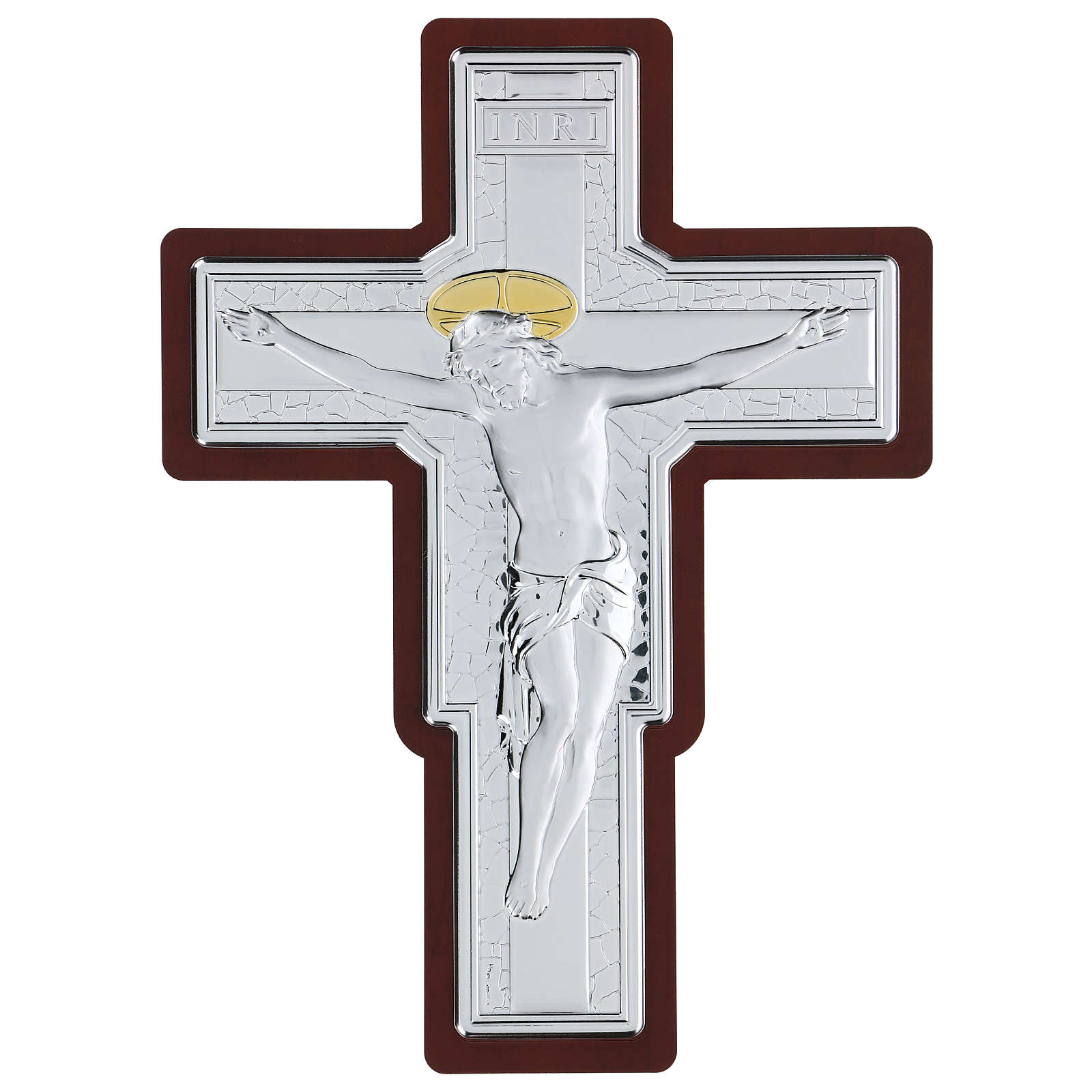 Crucifix in bilaminate silver 35x26 cm 4