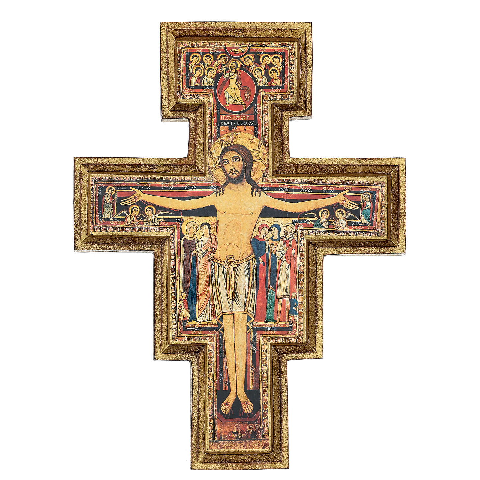 San Damiano Cross in wood paste, printed 40x35 cm 4