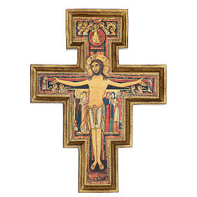 San Damiano Cross in wood paste, printed 40x35 cm s1