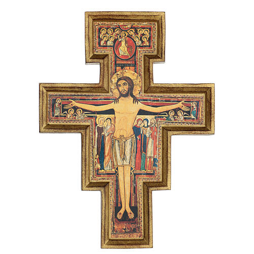 San Damiano Cross in wood paste, printed 40x35 cm 1