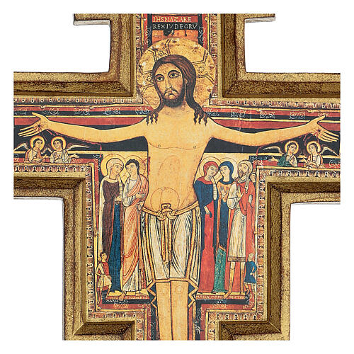 San Damiano Cross in wood paste, printed 40x35 cm 2