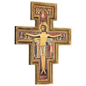 Croce in pasta di legno San Damiano 40x35 cm s4