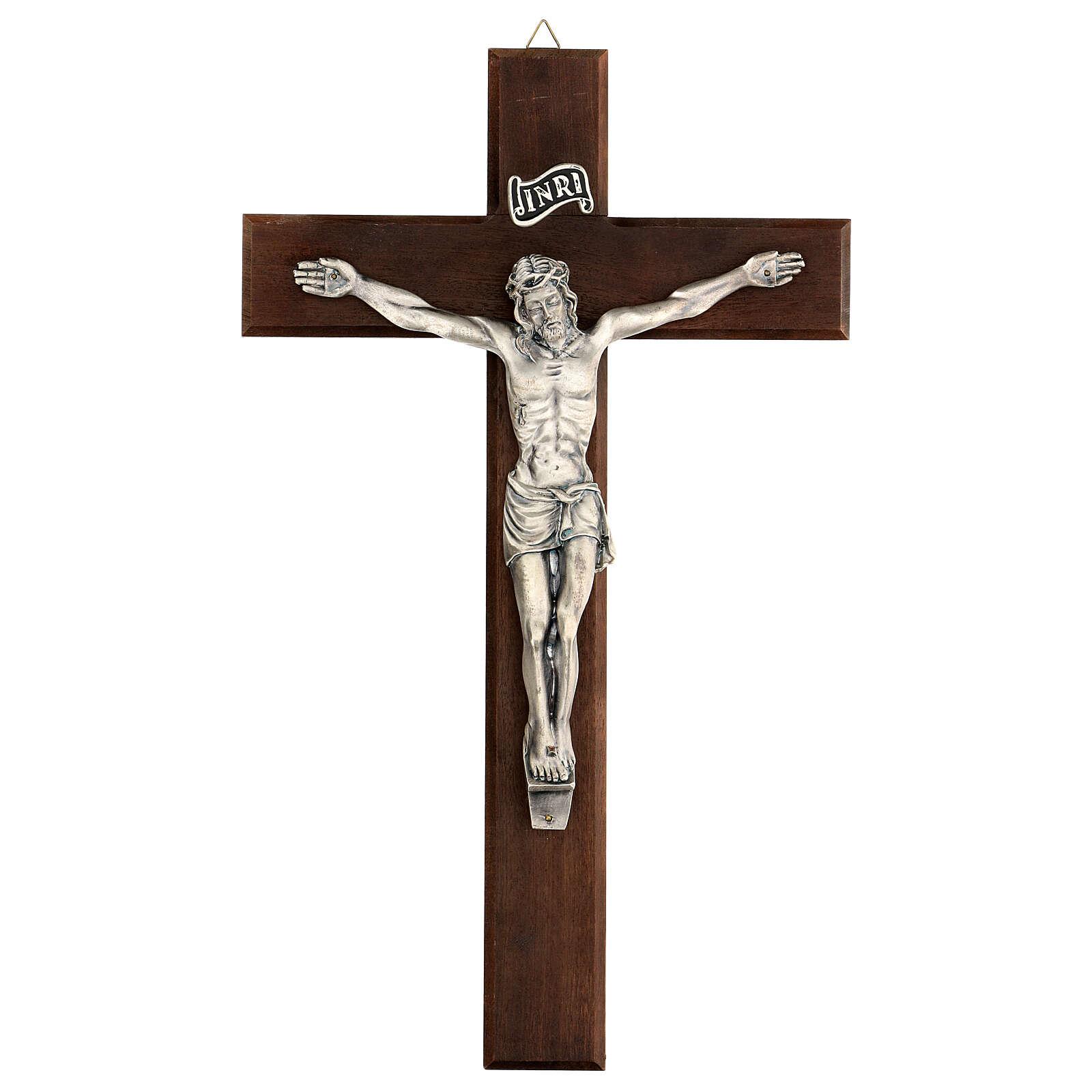 Croix en noyer avec Christ en métal 35x20 cm 4