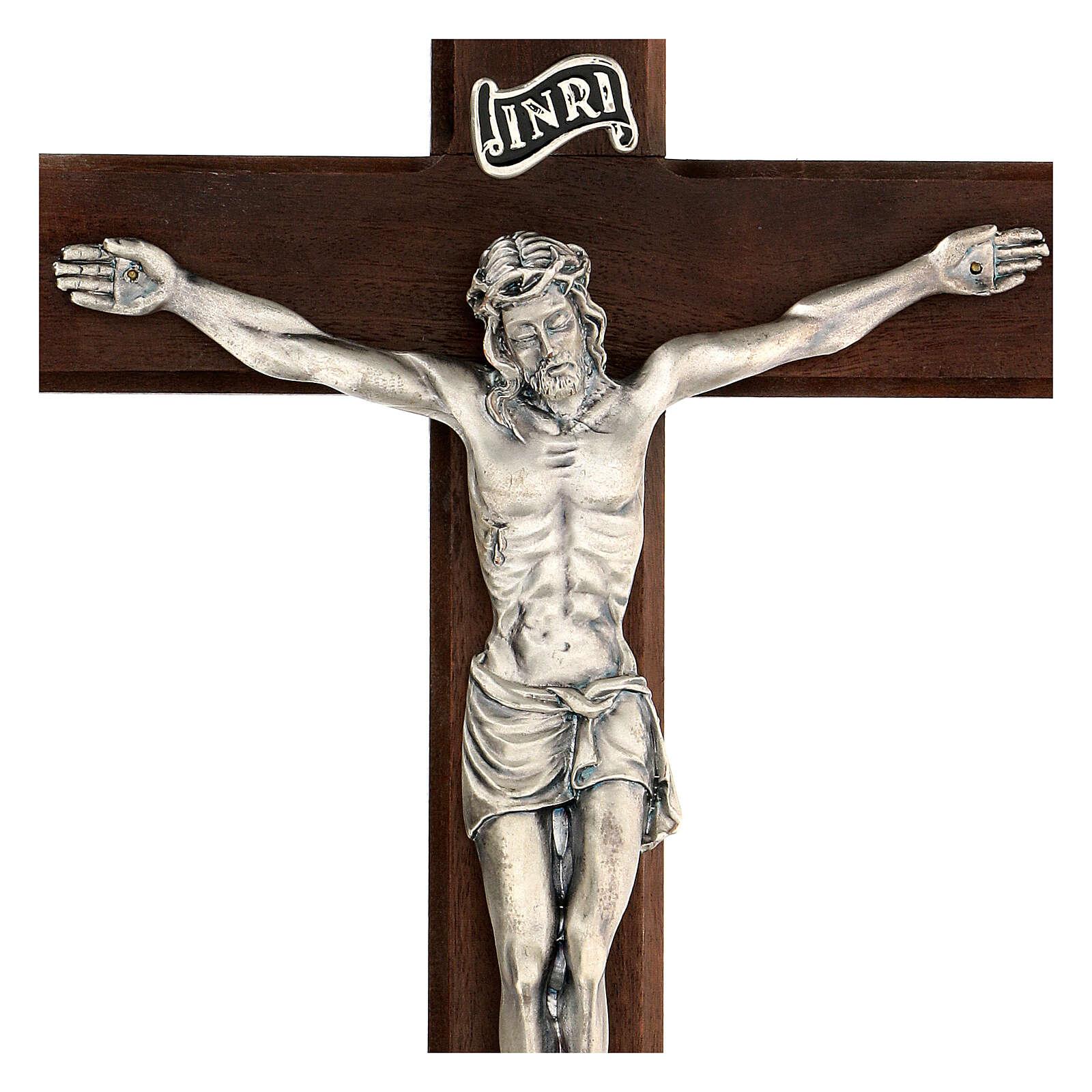 Croce in noce con Cristo in metallo 35x20 cm 4