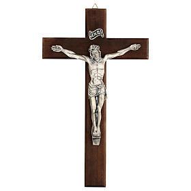 Croce in noce con Cristo in metallo 35x20 cm s1