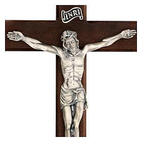 Croce in noce con Cristo in metallo 35x20 cm s2