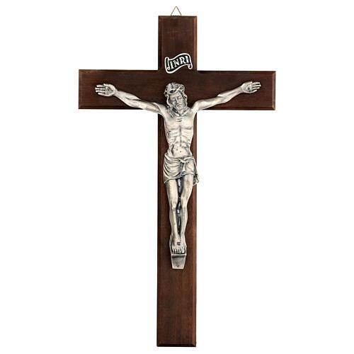 Croce in noce con Cristo in metallo 35x20 cm 1