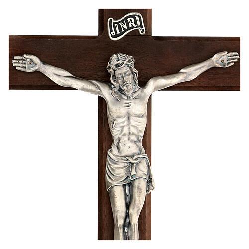 Croce in noce con Cristo in metallo 35x20 cm 2