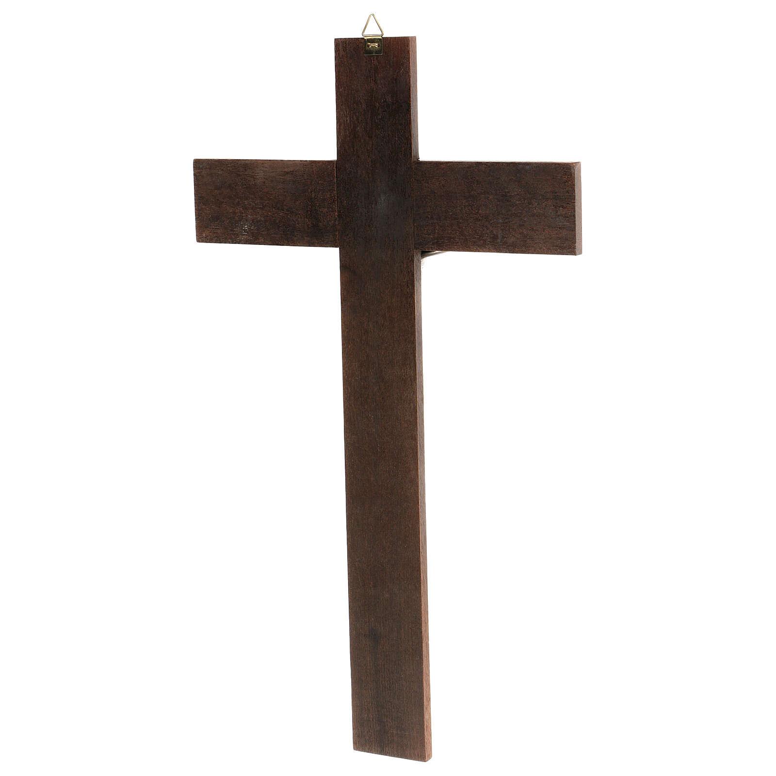 Walnut cross with metal Christ, 35x20 cm 4