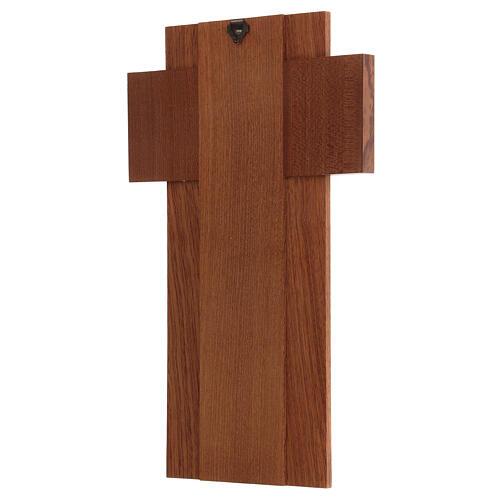 Crucifijo madera con cuerpo de metal plateado 3