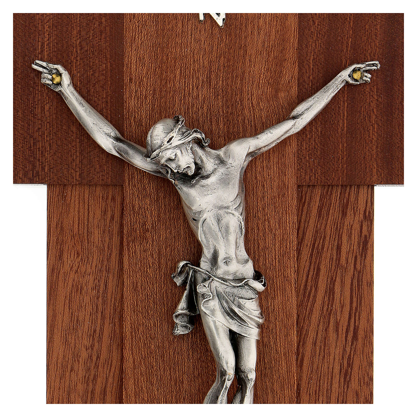 Wooden crucifix with silver metal body of Christ 4