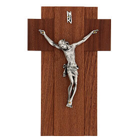 Wooden crucifix with silver metal body of Christ s1