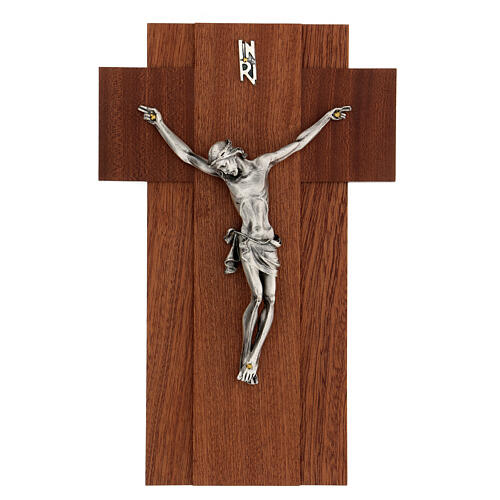 Wooden crucifix with silver metal body of Christ 1