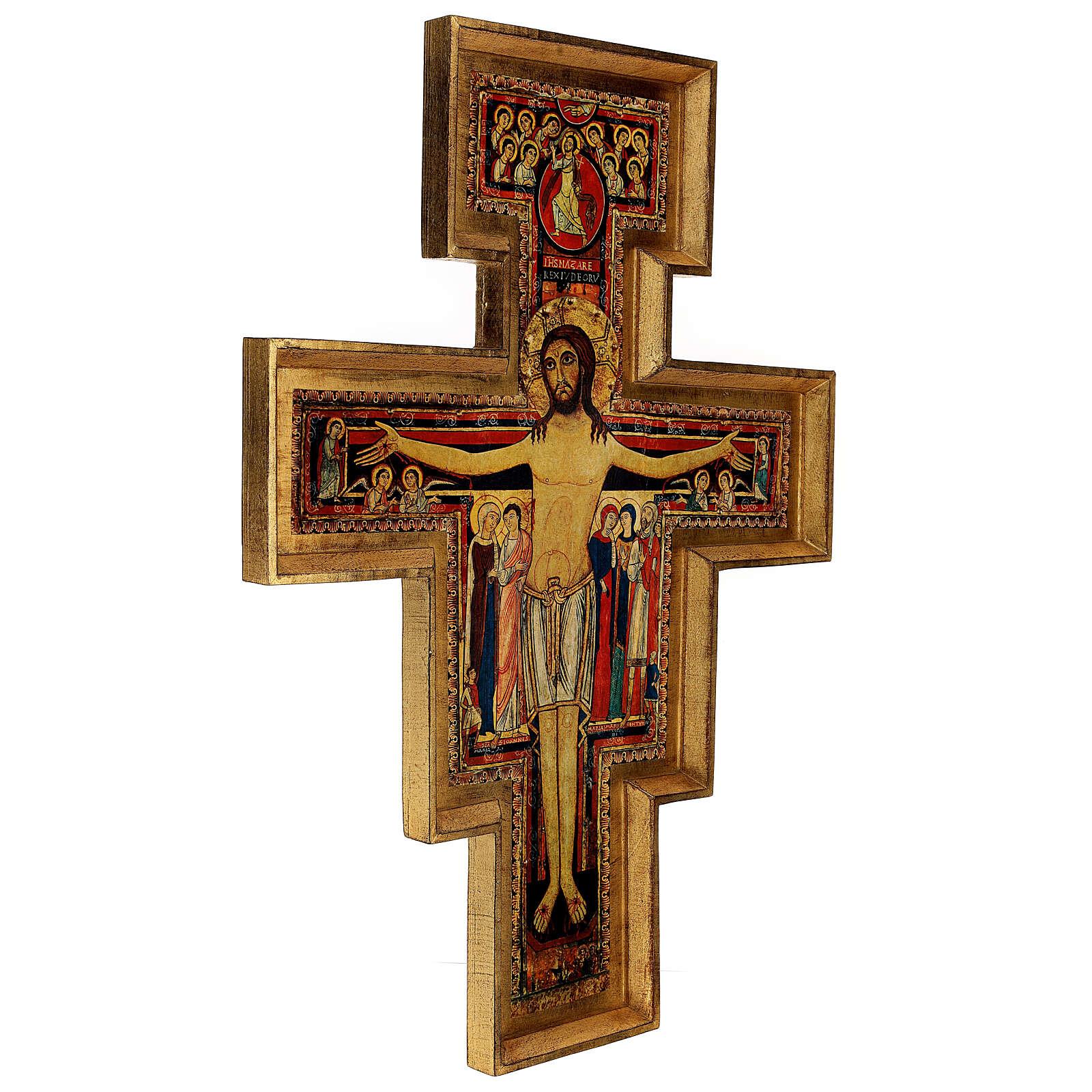 STOCK Croce San Damiano legno stampa serigrafata h. 50 cm 4