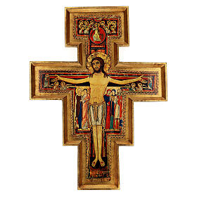 STOCK Croce San Damiano legno stampa serigrafata h. 50 cm s1