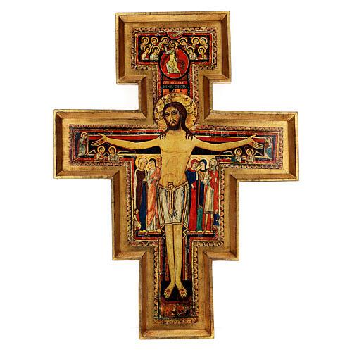 STOCK Croce San Damiano legno stampa serigrafata h. 50 cm 1