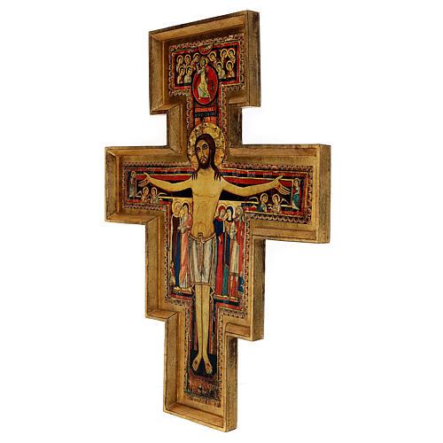 STOCK Croce San Damiano legno stampa serigrafata h. 50 cm 3