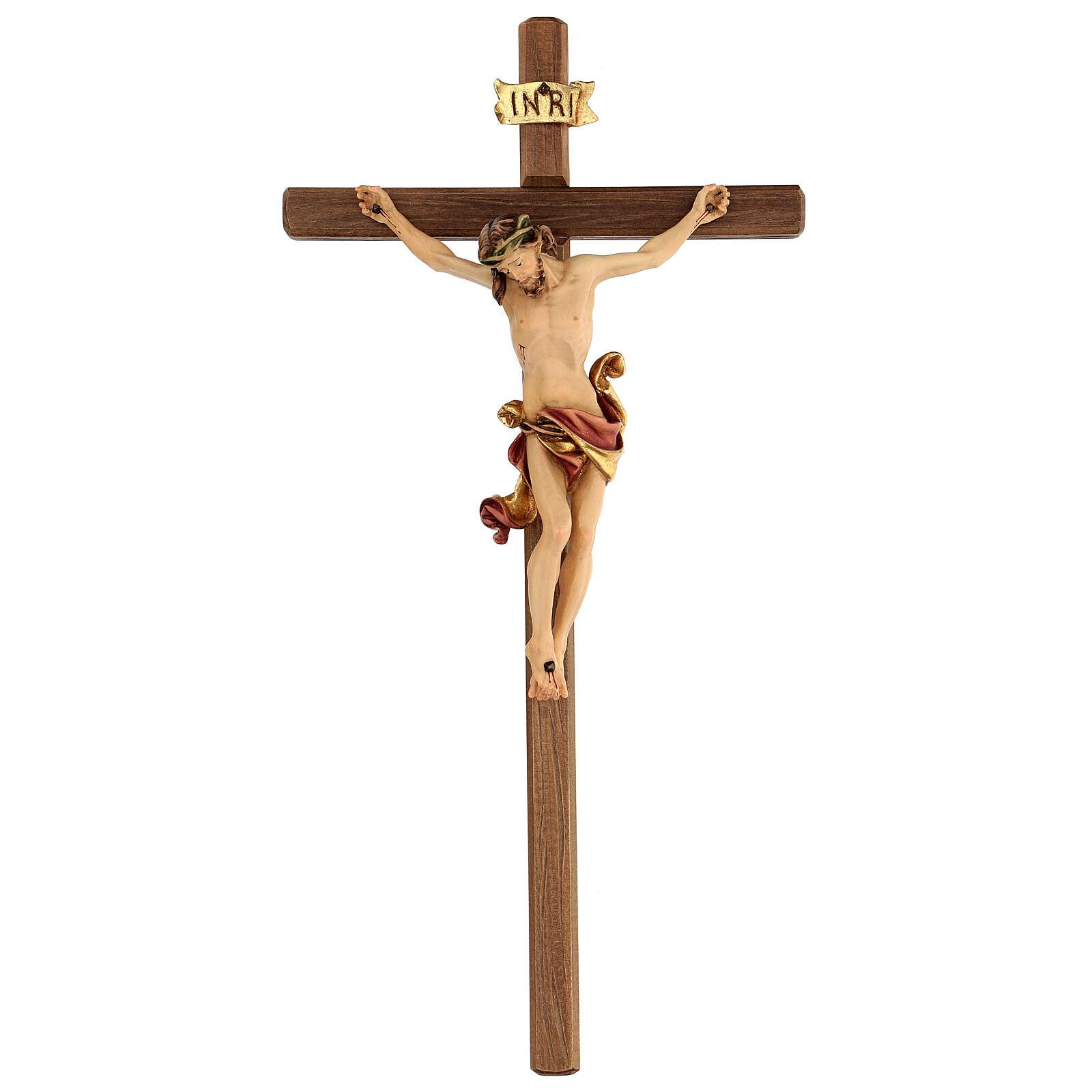 Crucifijo Leonardo Val Gardena madera coloreada 50 cm 4
