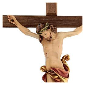 Crucifix Léonard Val Gardena bois coloré 50 cm s3