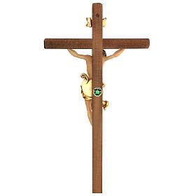Crucifix Léonard Val Gardena bois coloré 50 cm s5