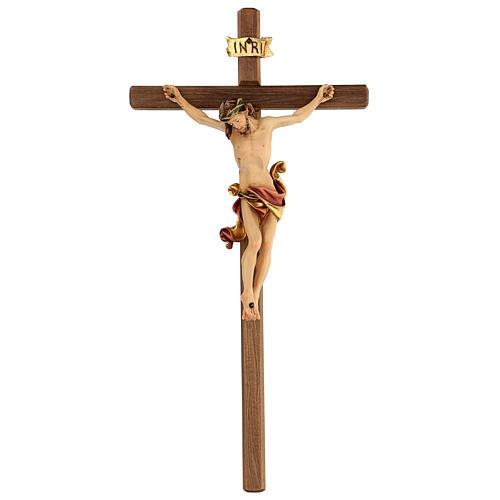 Crucifix Léonard Val Gardena bois coloré 50 cm 1