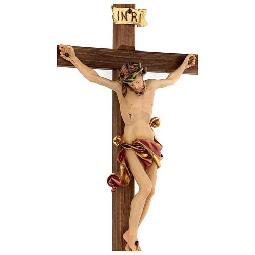 Crucifix Léonard Val Gardena bois coloré 50 cm 2