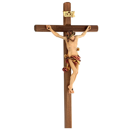 Crucifix Léonard Val Gardena bois coloré 50 cm 4
