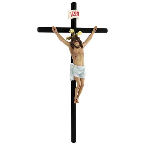 Crocifisso pasta di legno 70 cm dec. elegante con croce Motlla 6
