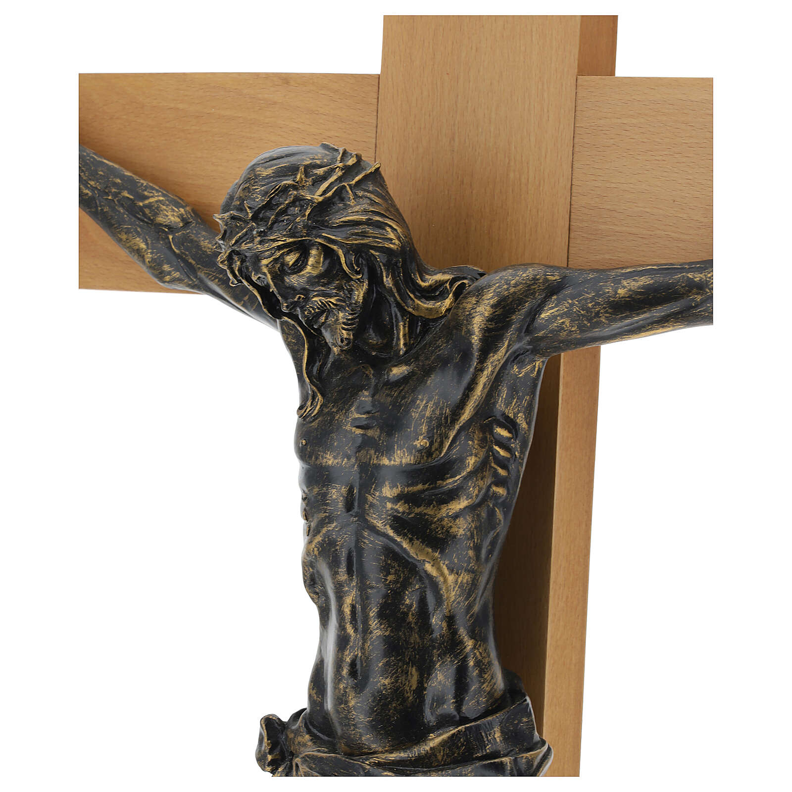 Crucifijo Fontanini 100 cm cruz madera cuerpo resina bronceado 4