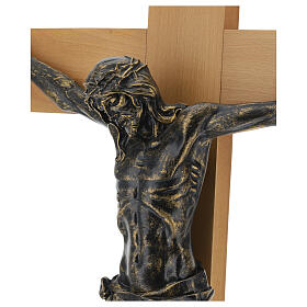 Crucifijo Fontanini 100 cm cruz madera cuerpo resina bronceado s2
