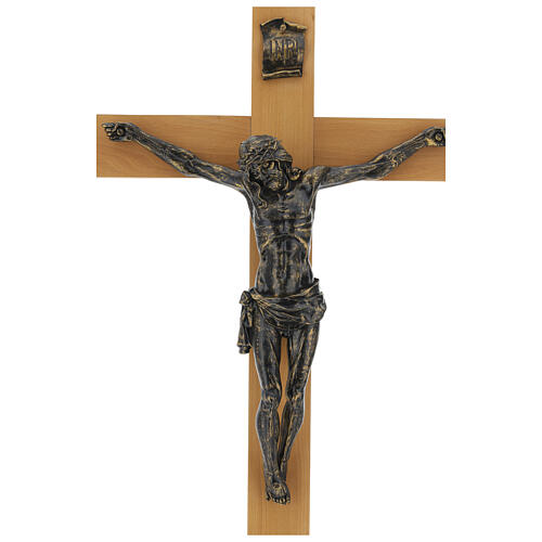 Crucifijo Fontanini 100 cm cruz madera cuerpo resina bronceado 3