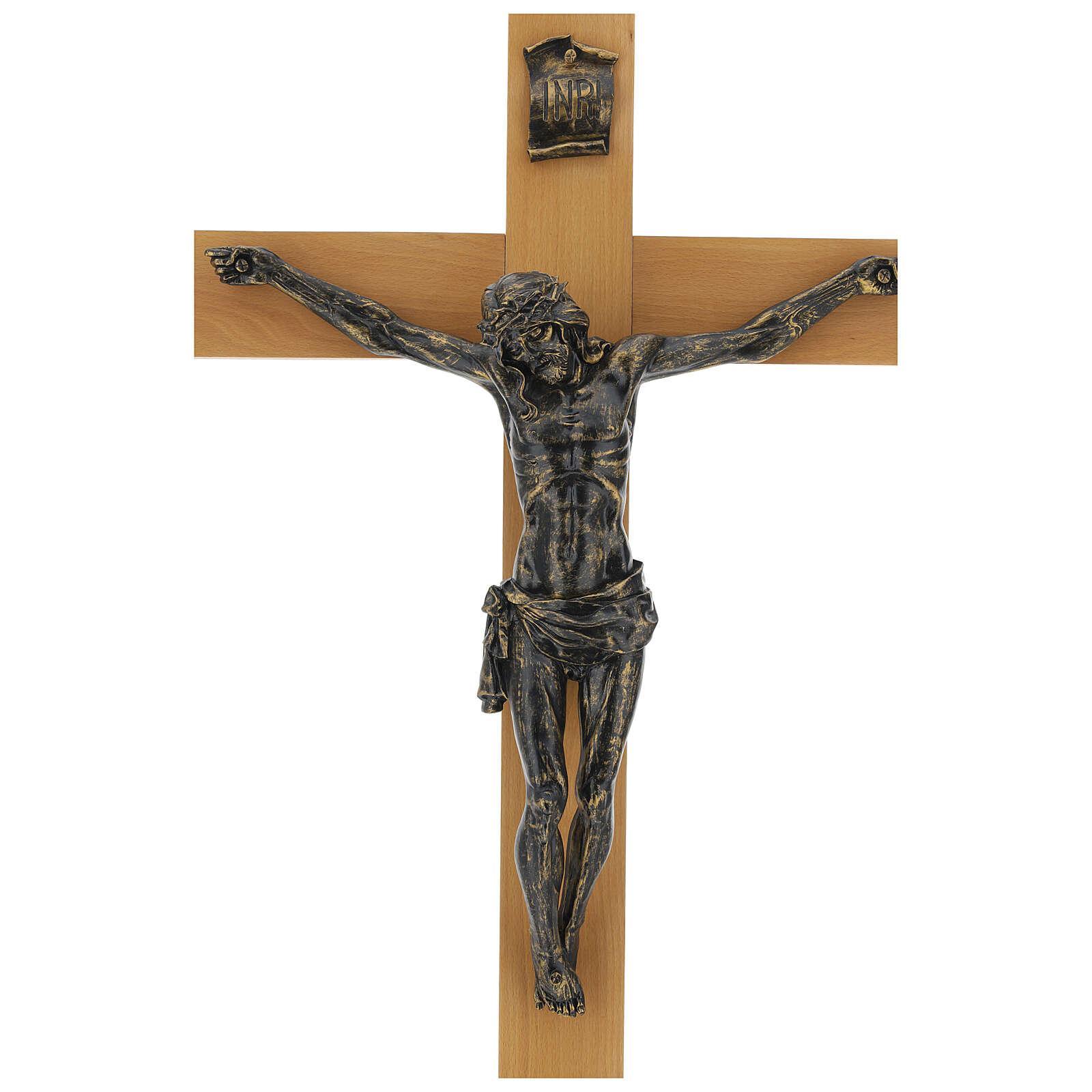 Crucifix Fontanini 100 cm croix bois corps résine effet bronze 4