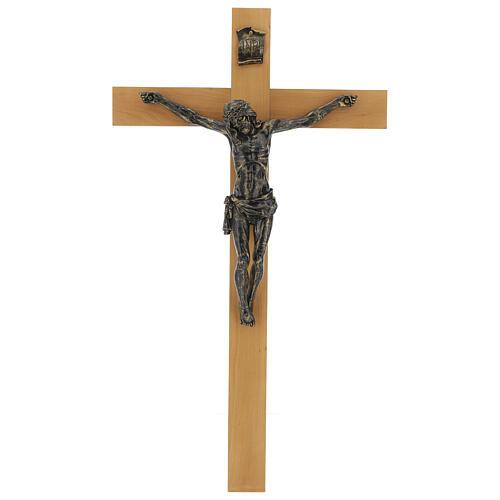 Crucifix Fontanini 100 cm croix bois corps résine effet bronze 1