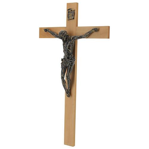 Crucifix Fontanini 100 cm croix bois corps résine effet bronze 5