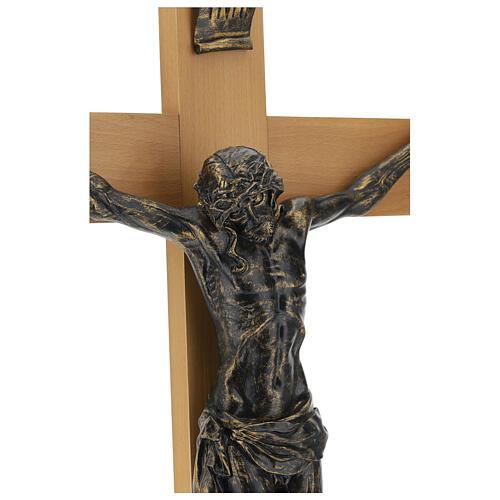 Crucifix Fontanini 100 cm croix bois corps résine effet bronze 6