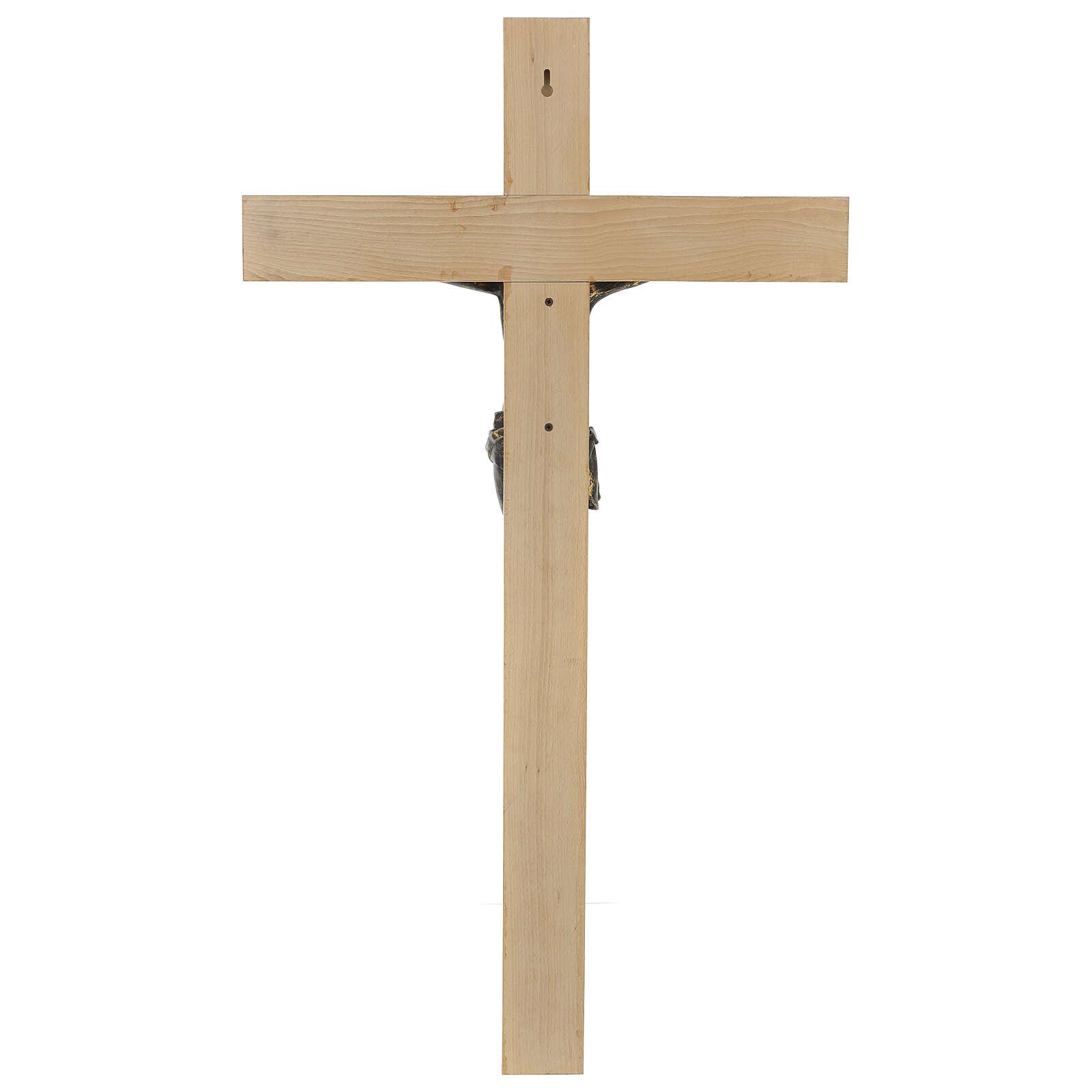 Crocifisso Fontanini 100 cm croce legno corpo resina bronzato 4
