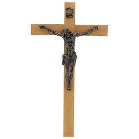 Crocifisso Fontanini 100 cm croce legno corpo resina bronzato s1