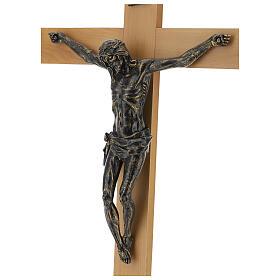 Crocifisso Fontanini 100 cm croce legno corpo resina bronzato s4