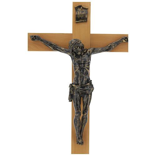 Crocifisso Fontanini 100 cm croce legno corpo resina bronzato 3