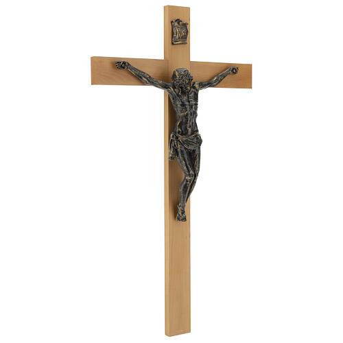 Crocifisso Fontanini 100 cm croce legno corpo resina bronzato 7
