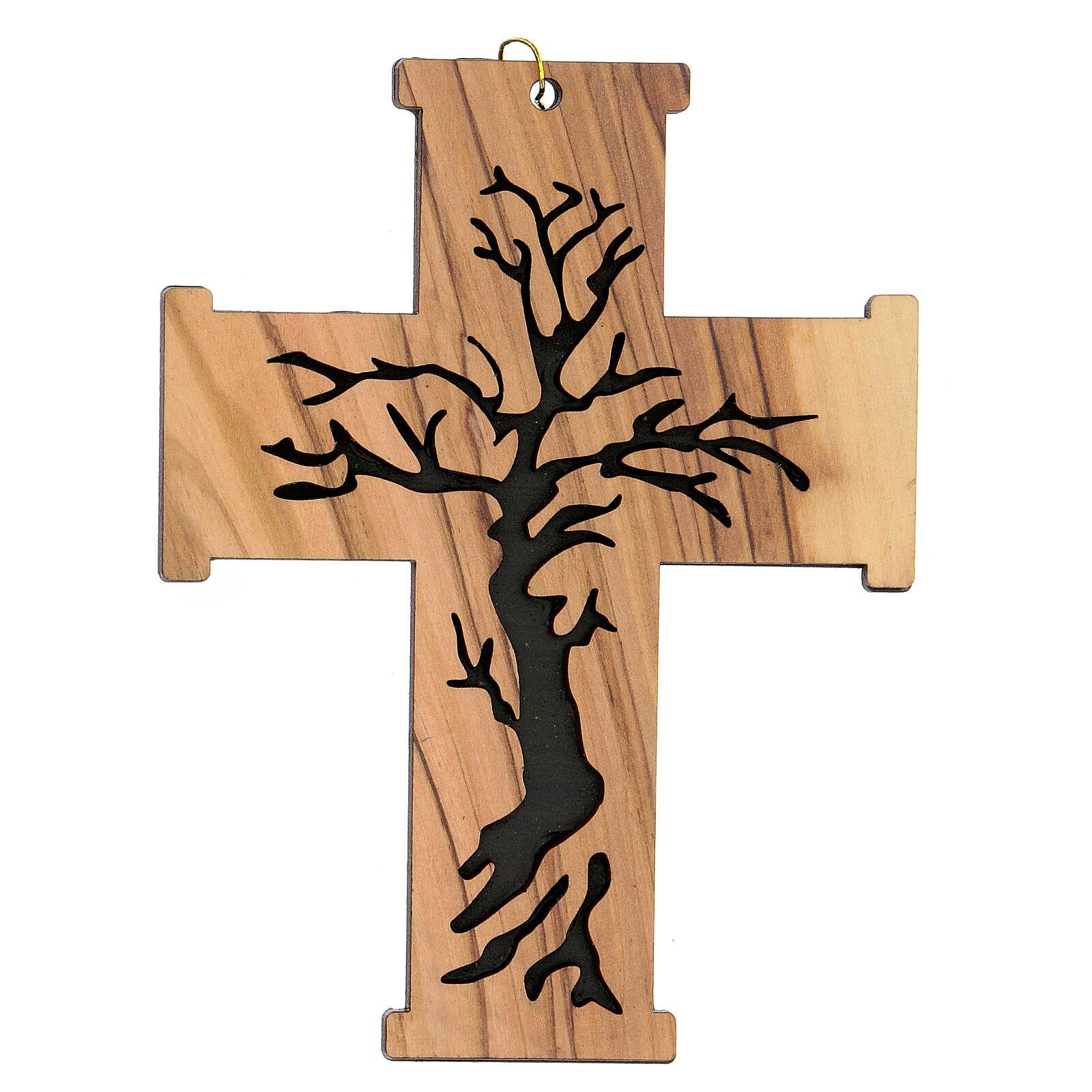 Croce da muro Albero della Vita legno ulivo Betlemme 13 cm 4