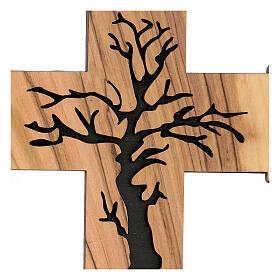Croce da muro Albero della Vita legno ulivo Betlemme 13 cm s2