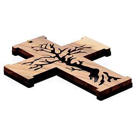 Croce da muro Albero della Vita legno ulivo Betlemme 13 cm s4