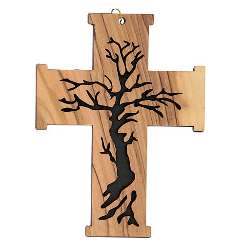 Croce da muro Albero della Vita legno ulivo Betlemme 13 cm 1