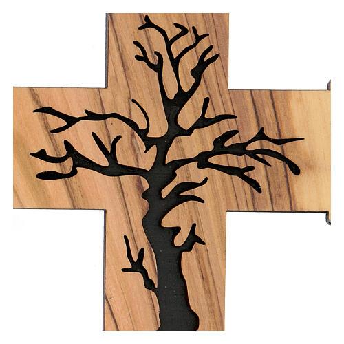 Croce da muro Albero della Vita legno ulivo Betlemme 13 cm 2