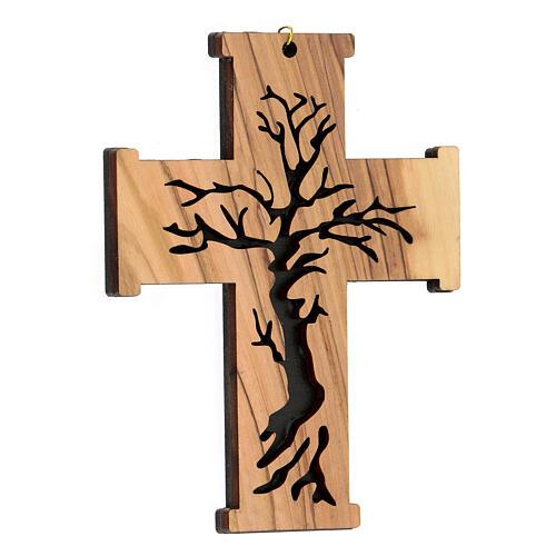 Croce da muro Albero della Vita legno ulivo Betlemme 13 cm 3