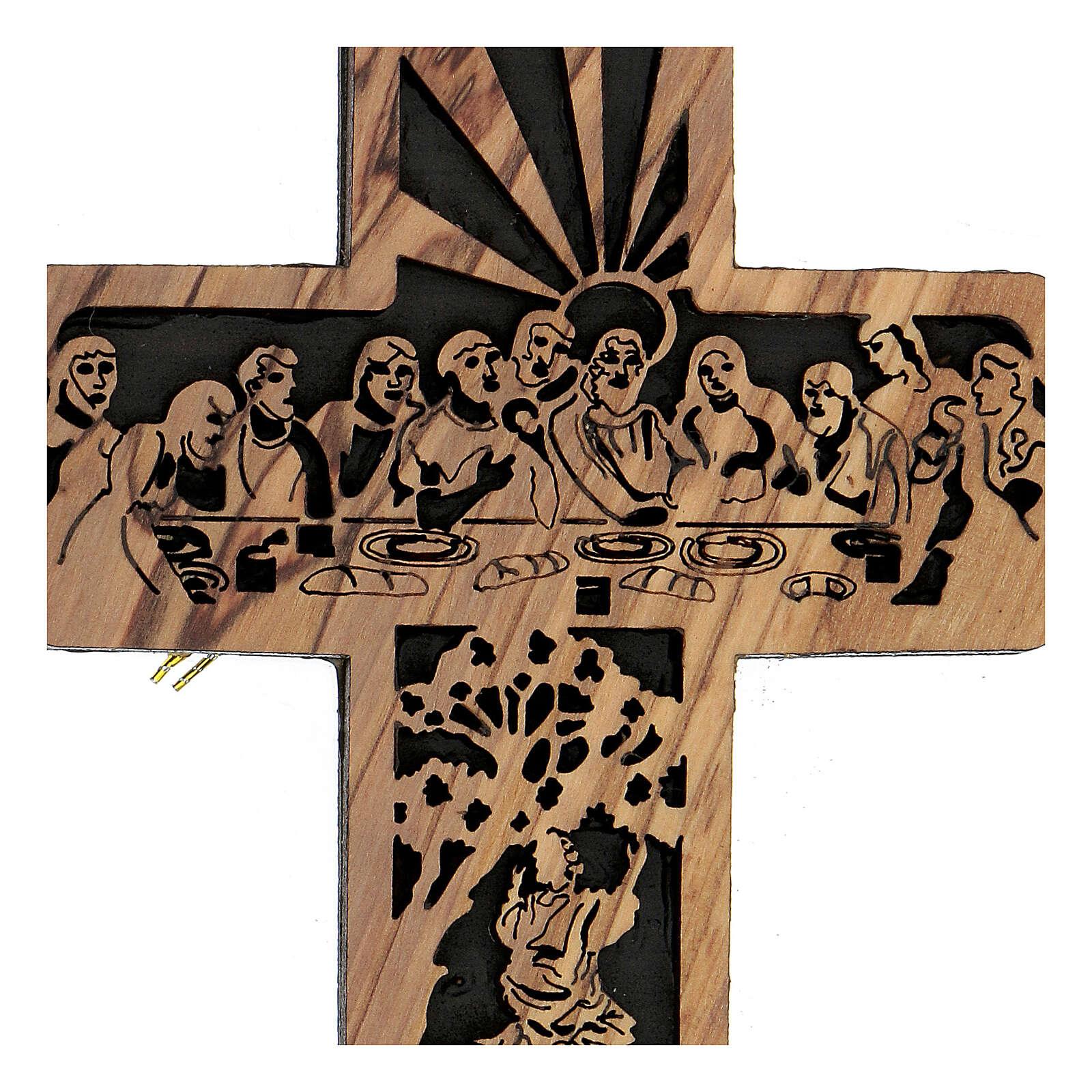 Croix Cène Calvaire bois olivier Bethléem 15x10 cm 4